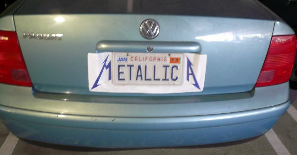 hilarious metallica licence plate