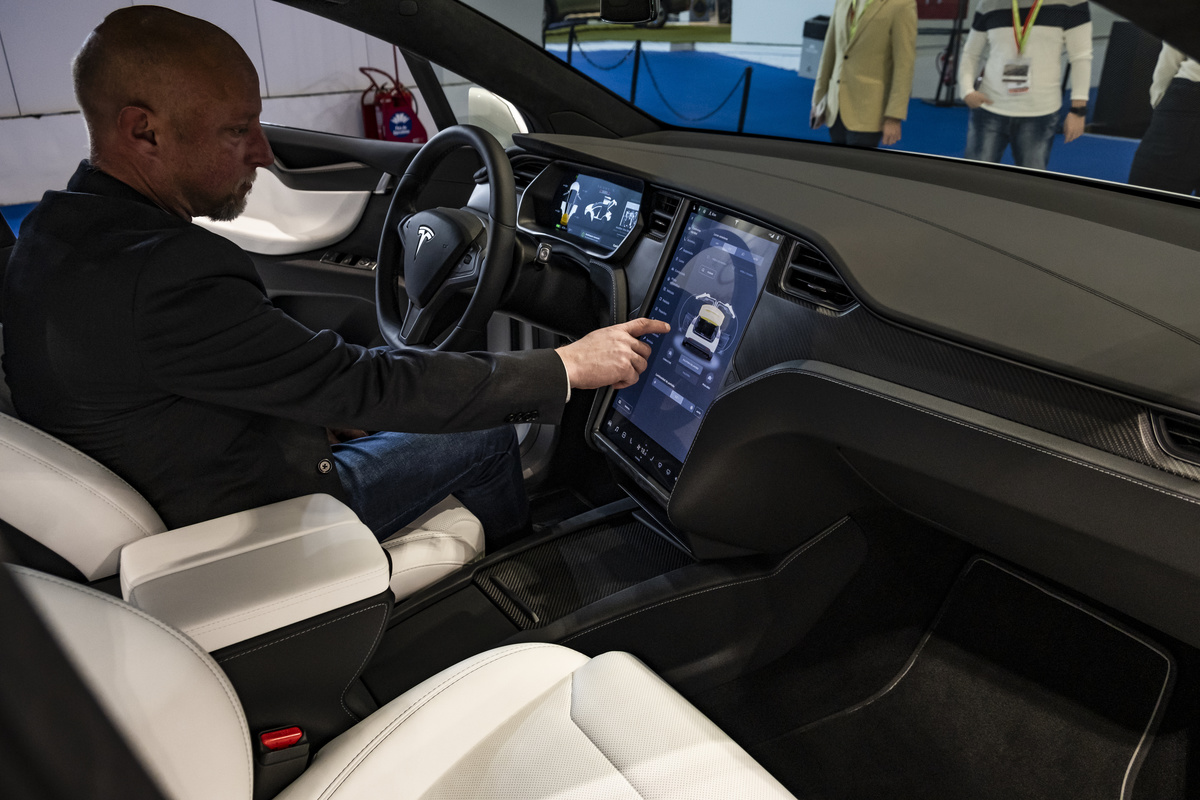 Interior of the model X vehicle of the car manufacturer...