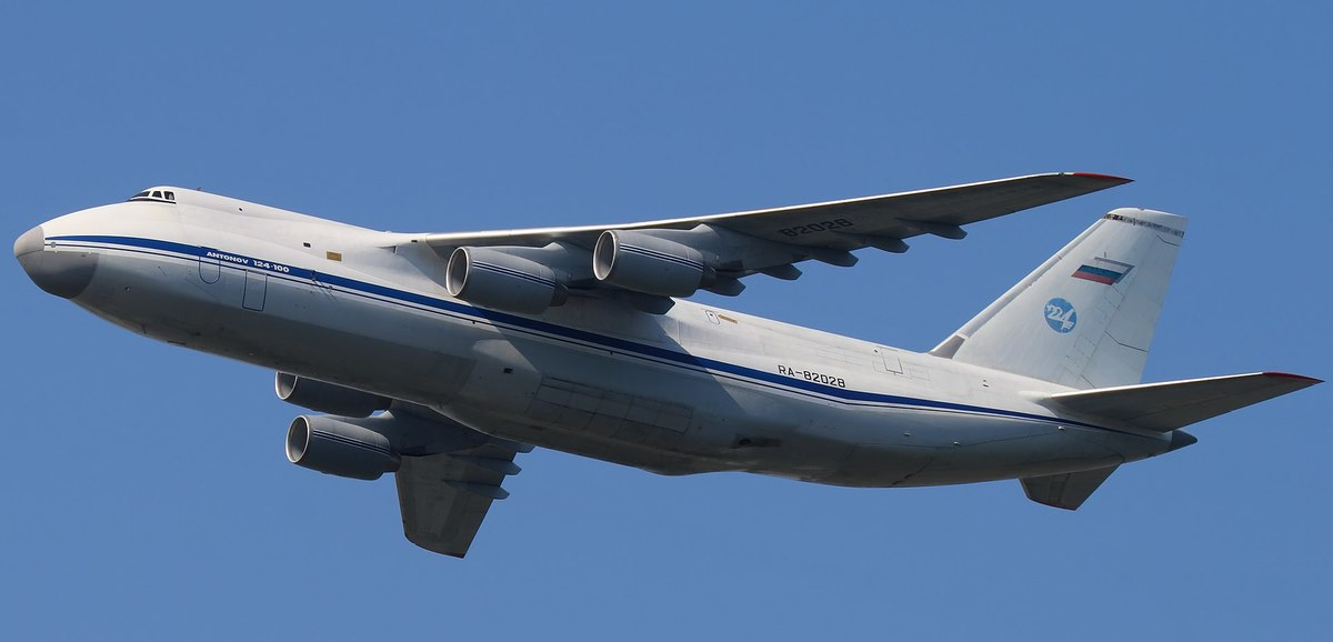 An Antonov An-124-100 (RA-82028) of 224th Flight Unit inflight with 2 Sukhoi Su-27s of the Falcons of Russia aerobatic team