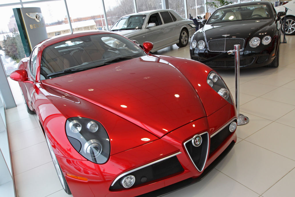 A 2008 Alfa Romeo 8C Competizione, a used 2007 Bently Arnagt, and 2009 Bentley Continental GT Speed were on the display at Bentley Minneapolis in Wayzata
