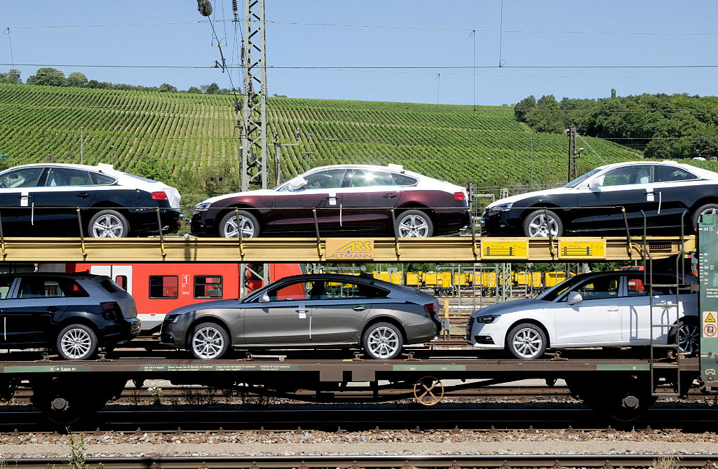 A transport train with brand new cars of the brand 'Audi'
