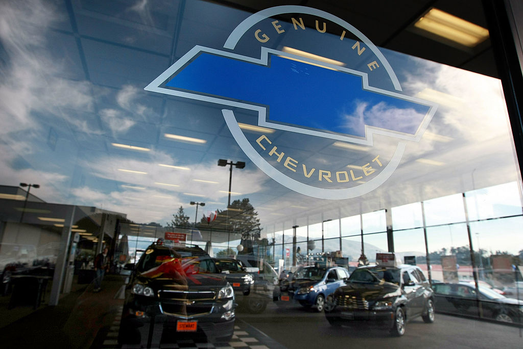 Brand new Chevrolet cars are displayed in the showroom
