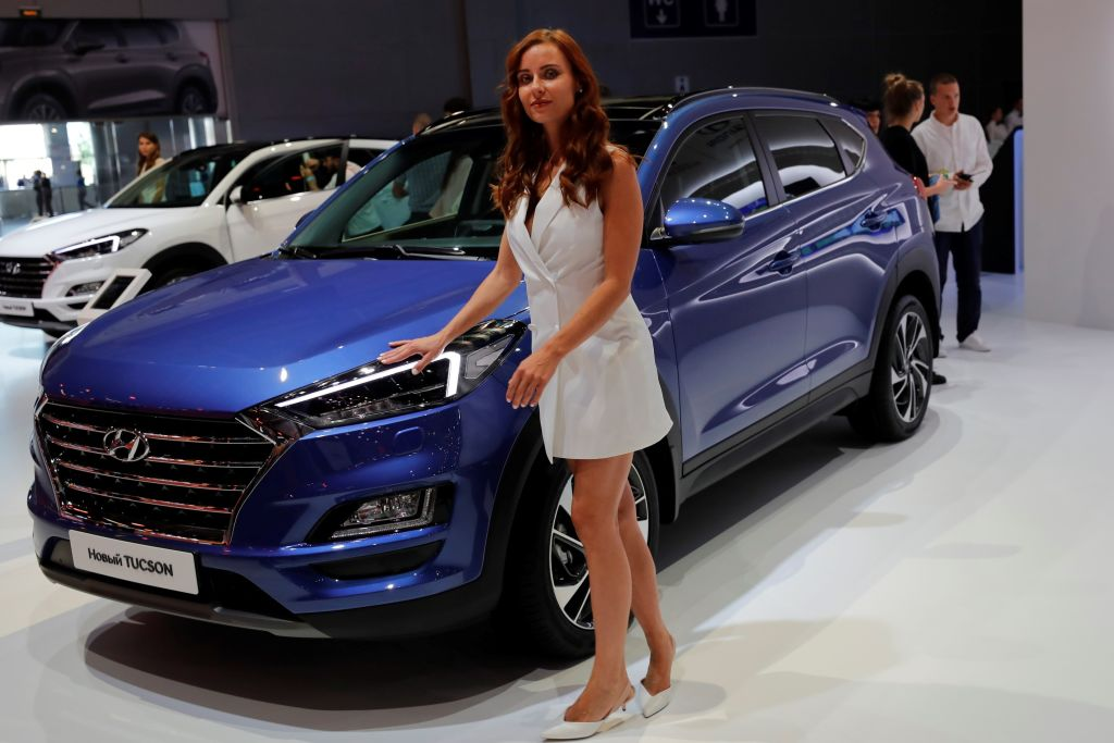 Hyundai Tucson is being displayed during the 2018 Moscow International Motor Show
