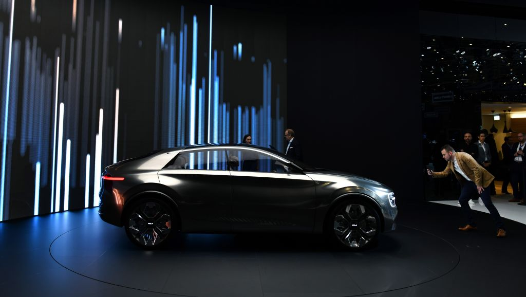 The Korean automaker Kia is unveiled an electric concept car at the 89th Geneva International Motor Show