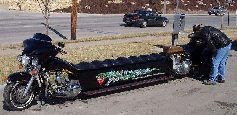a motorcycle turned into a limo