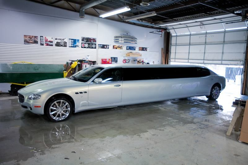 a maserati turned into a limo