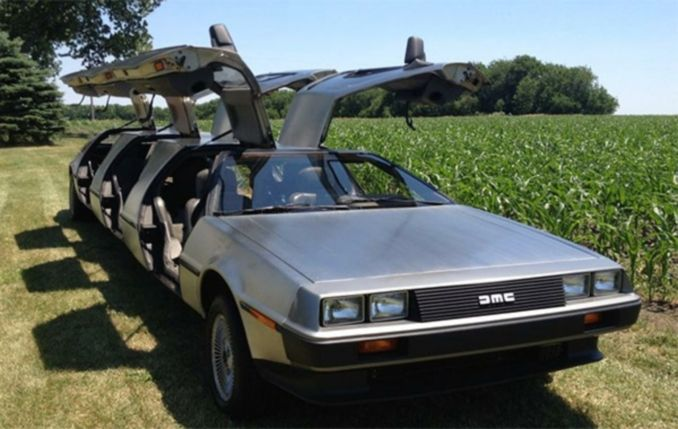a delorean turned into a limo
