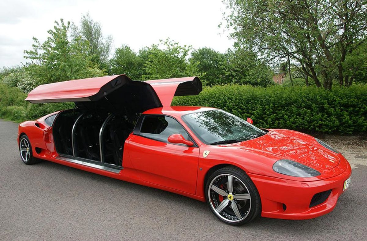 a ferrari 360 limo turned into a limo