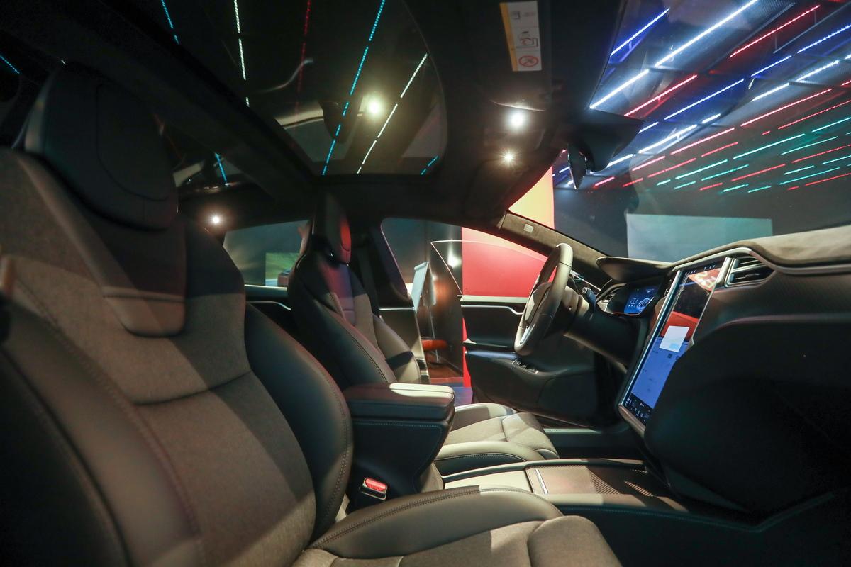 Interior of a Tesla Model S electric car