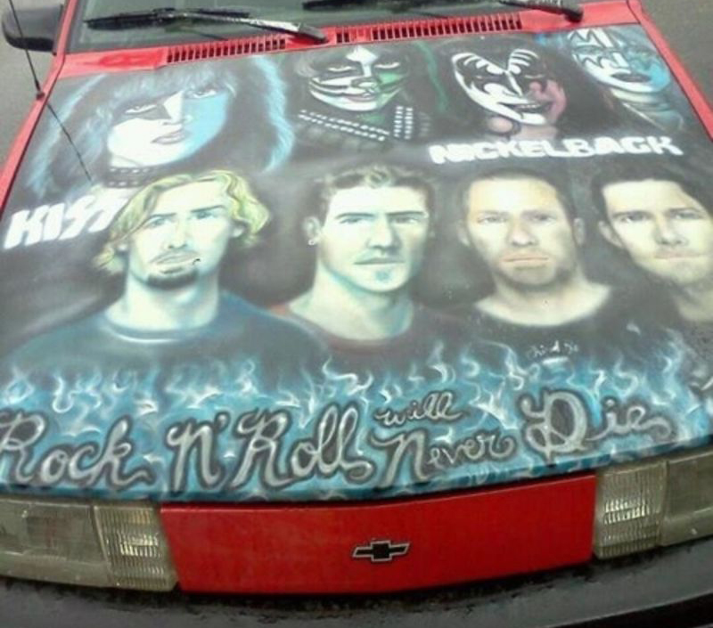 The hood of a car shows the band member of KISS and Nickelback.
