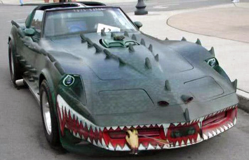 A Corvette is made to look like a shark.