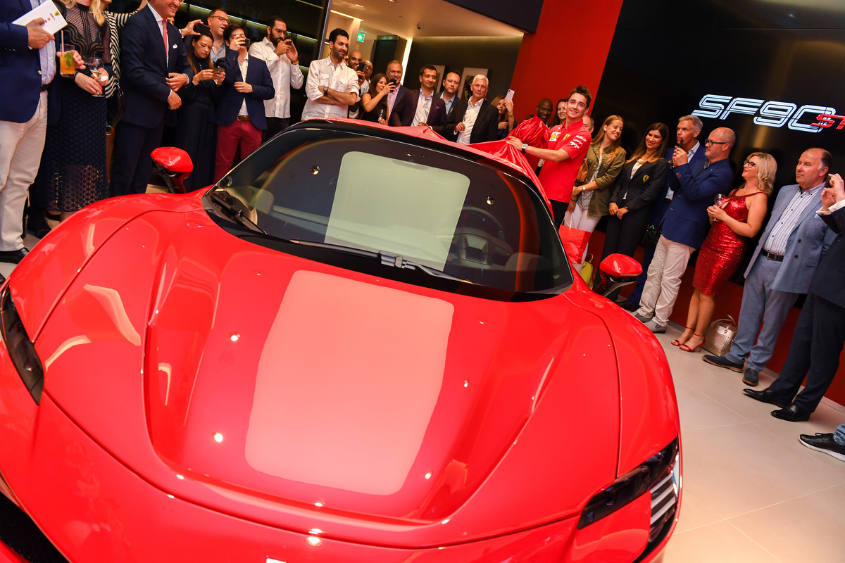 Charles Leclerc opens new H.R. Owen Ferrari Mayfair Showroom