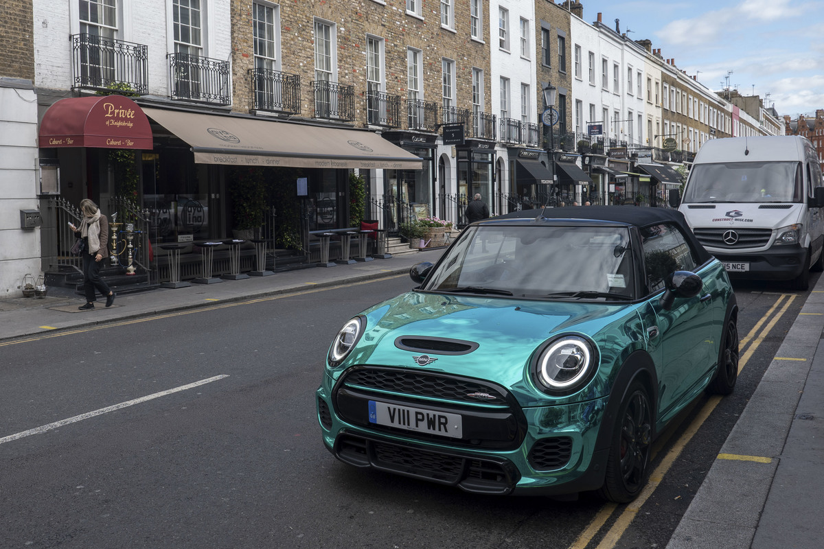 A Shiny Metallic Turquoise Mini Car West London
