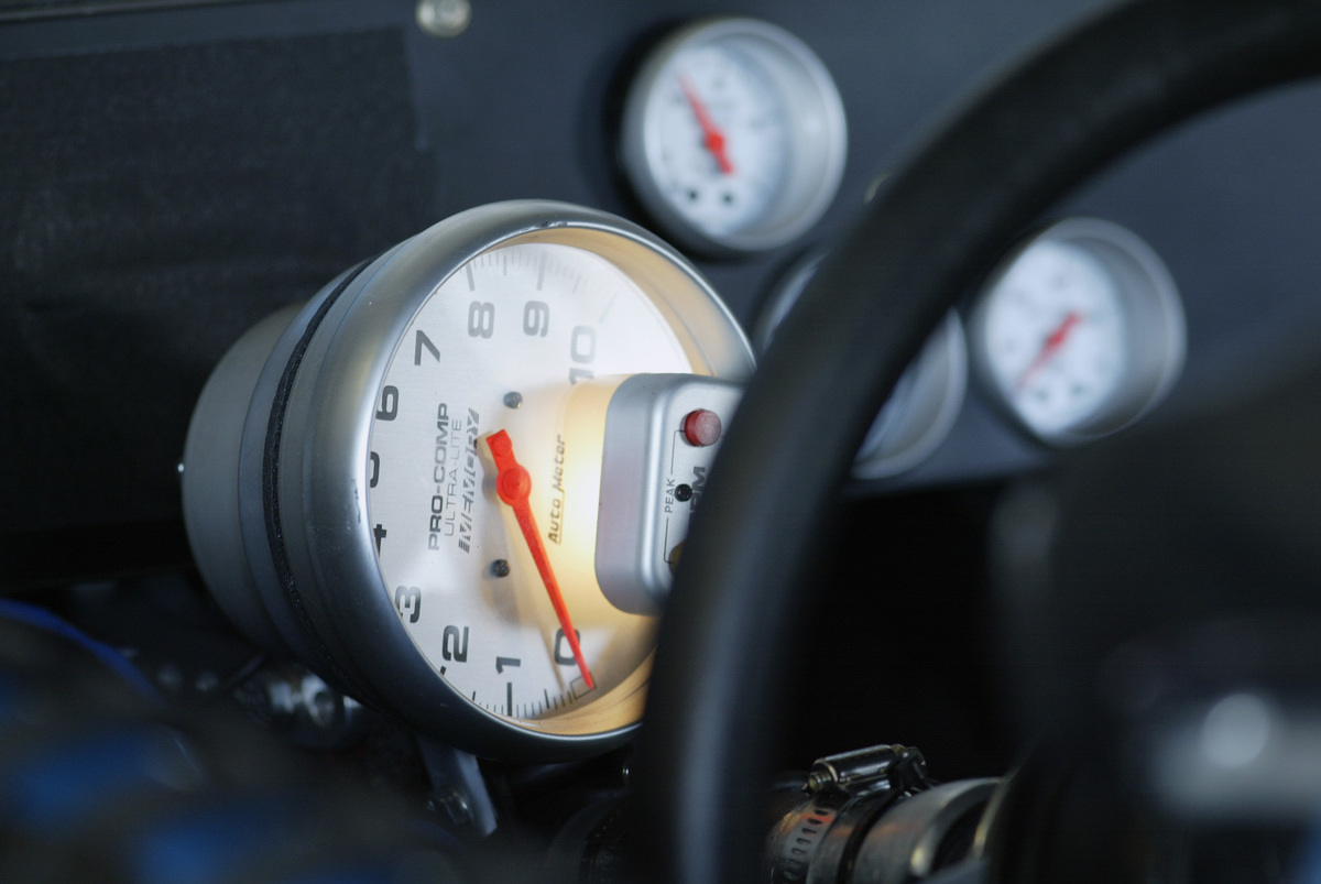 Rev counter on a NASCAR racing car