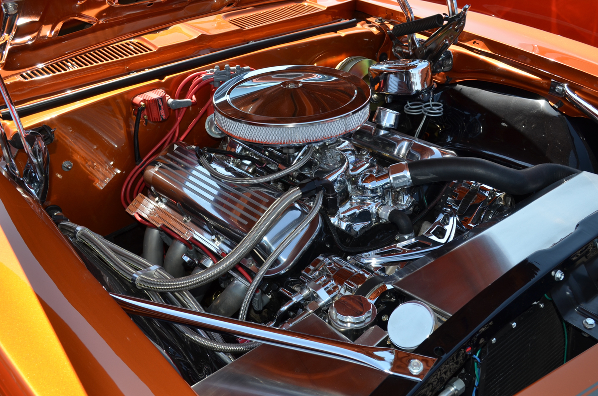 Big block V8 engine in a 1967 Chevy Camaro