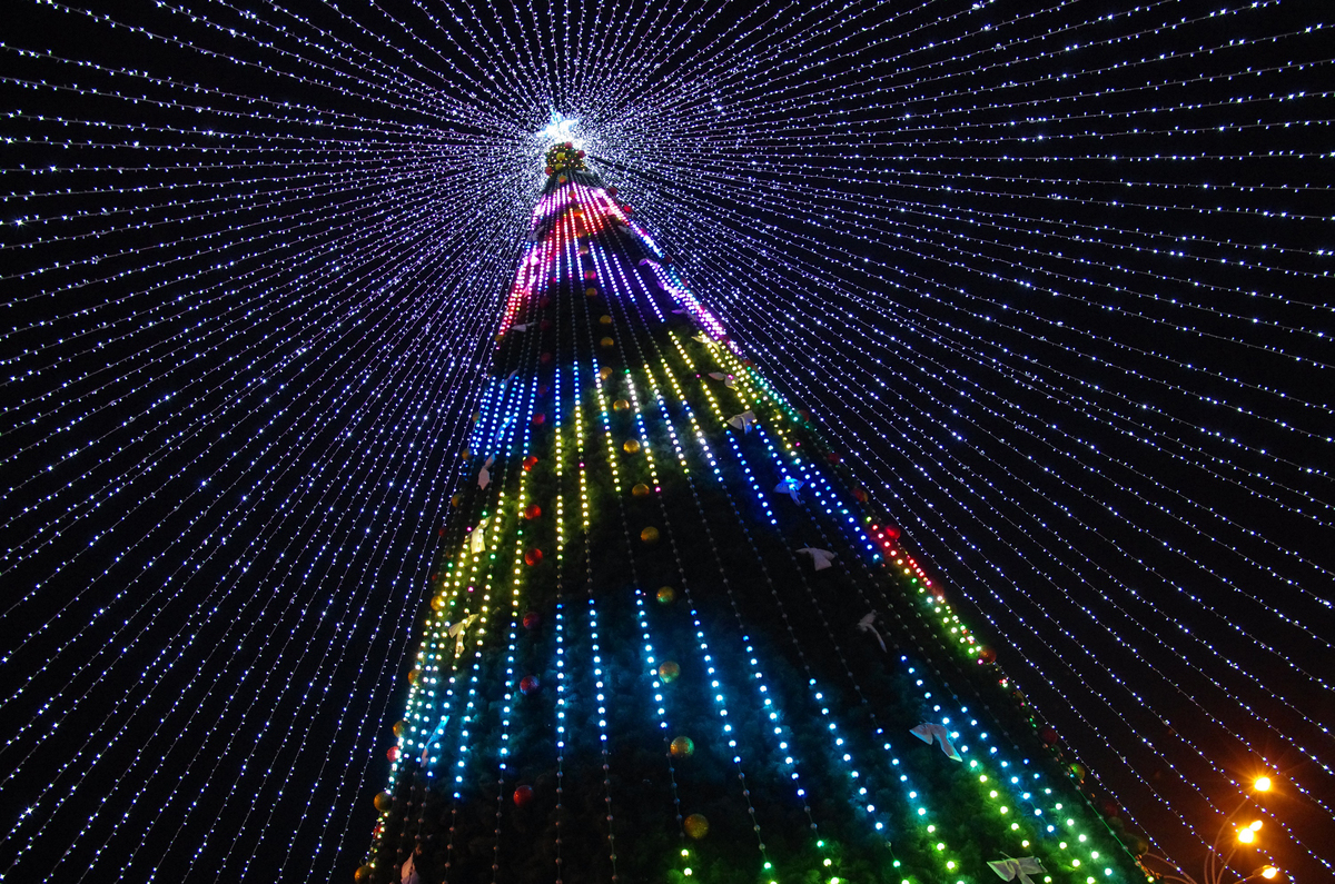 Festive illuminations in Poltava