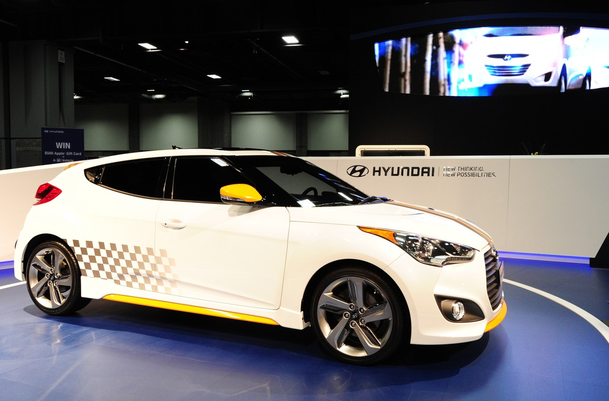 The Hyundai Veloster on display February