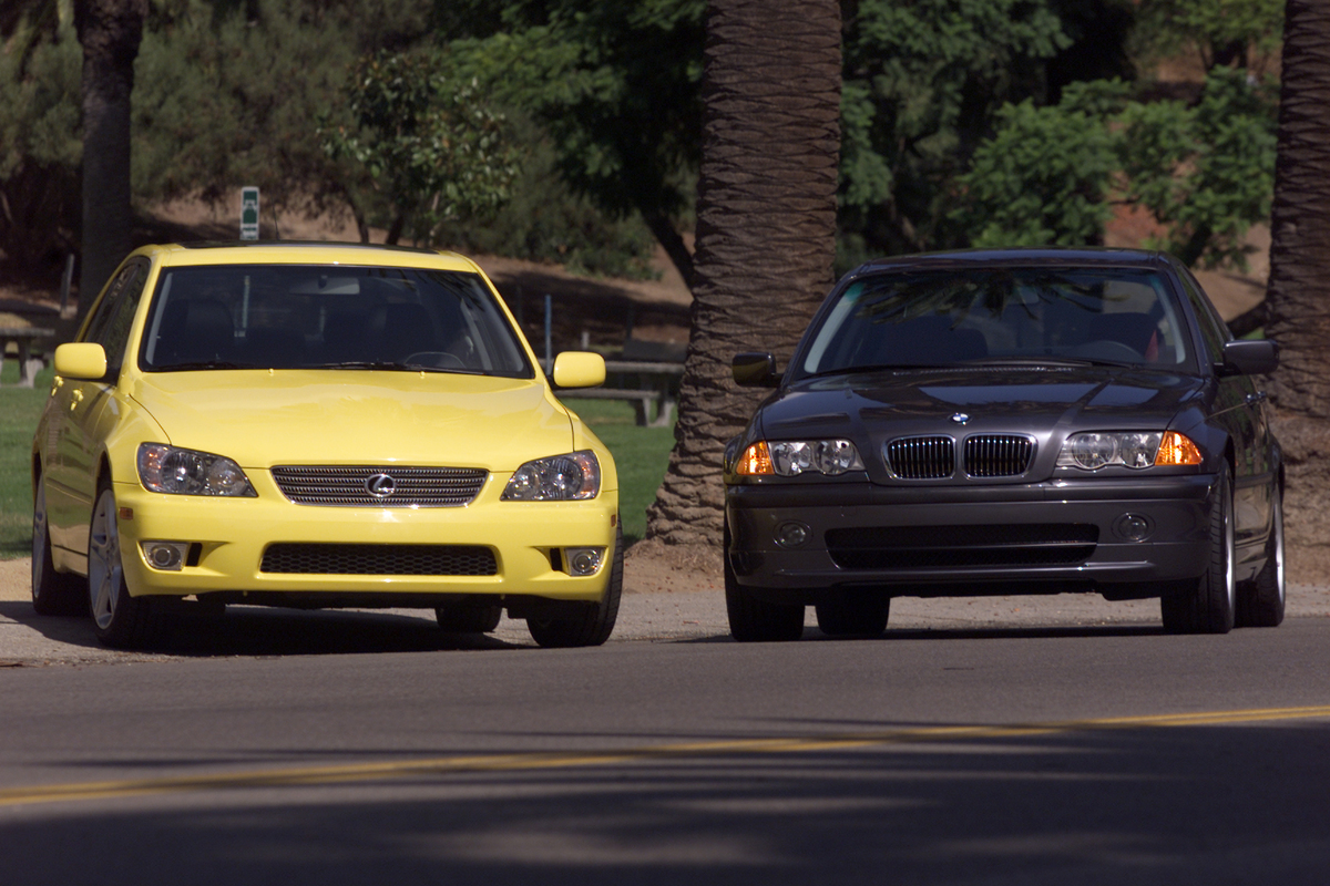 The Lexus IS300, left, and the BMW330, right, in Elysian Park.