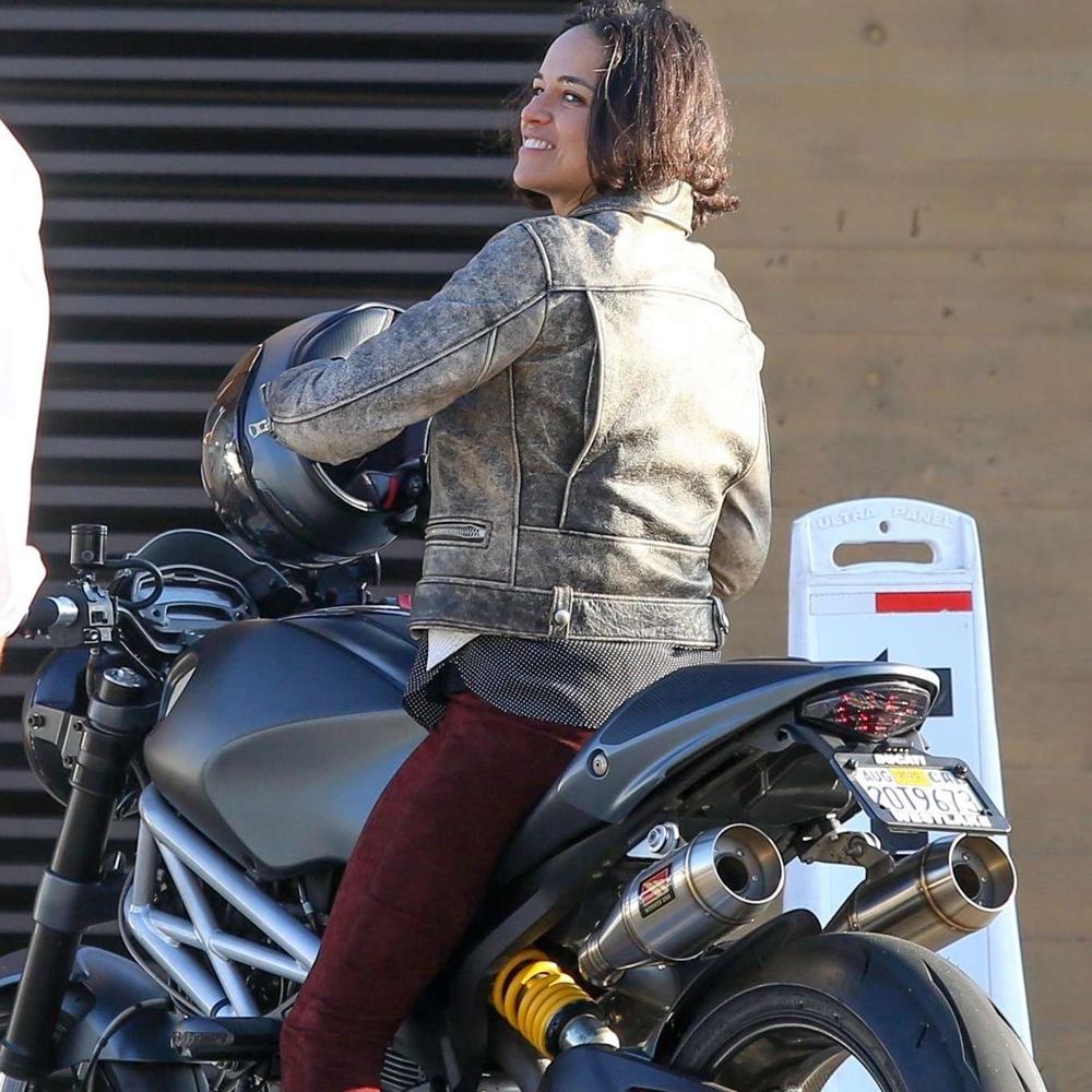 Michelle Rodriguez riding