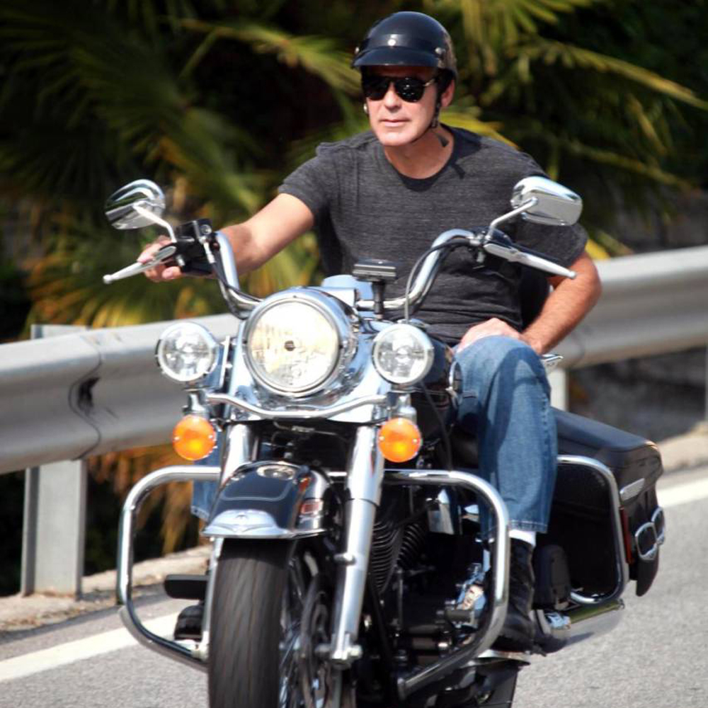on his bike