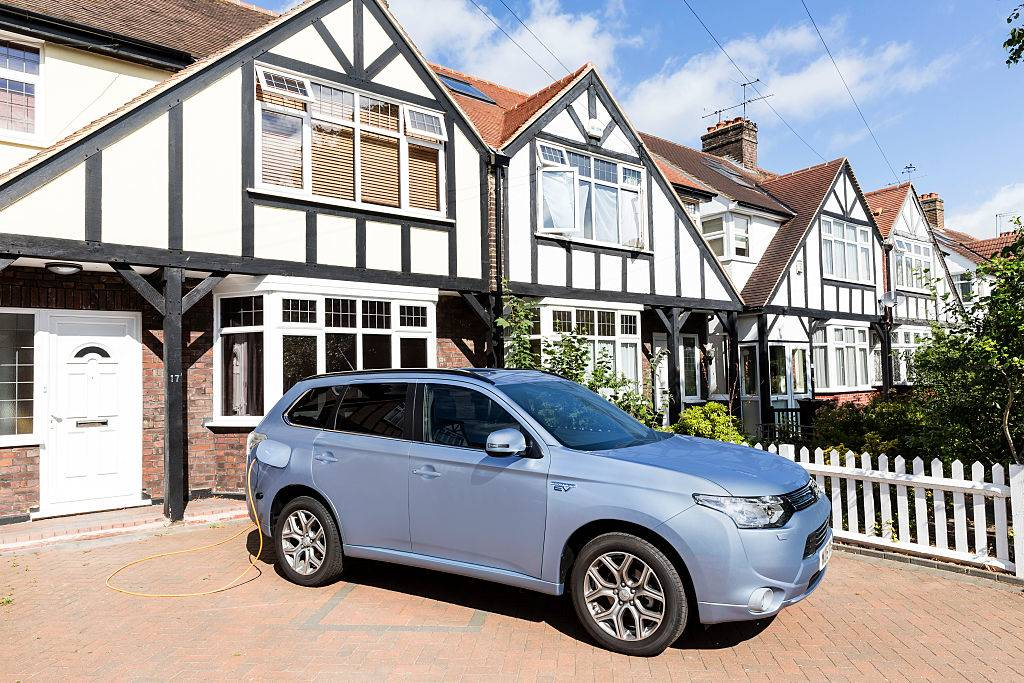 Go Ultra Low Mitsubishi Outlander PHEV on charge on a London driveway