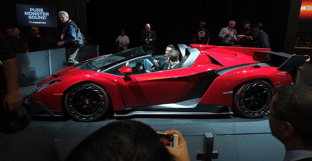 The Lamborghini Veneno Roadster equipped and promoted by Monster Audio