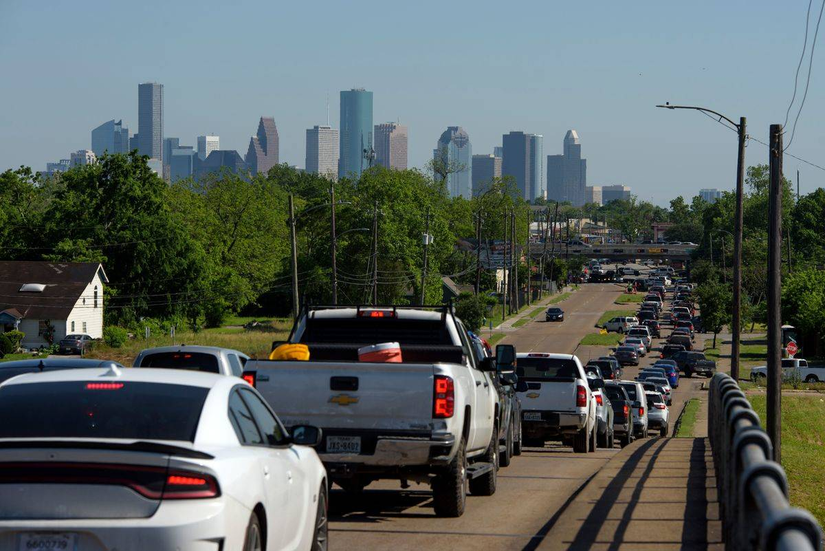 A traffic jam is seen in Houston, Texas.