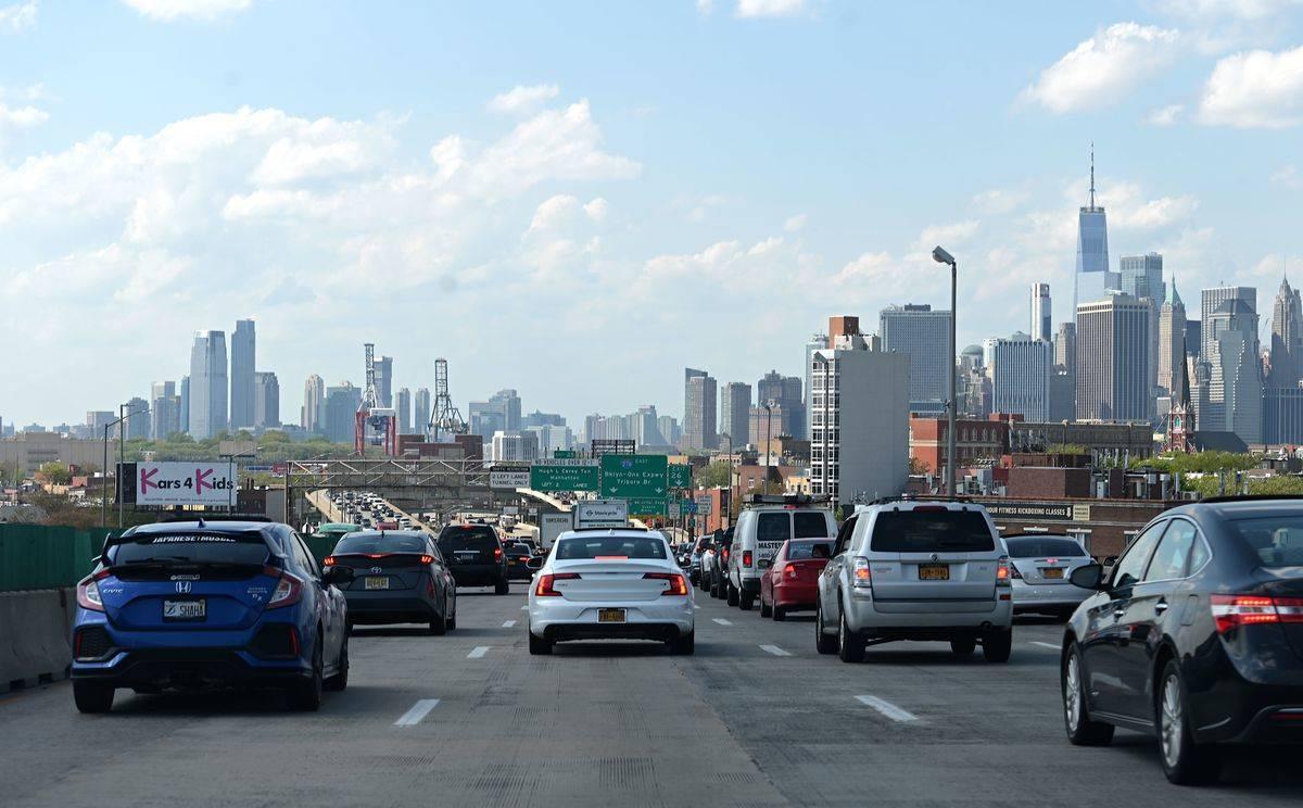 A traffic jam occurs in Manhattan, New York.