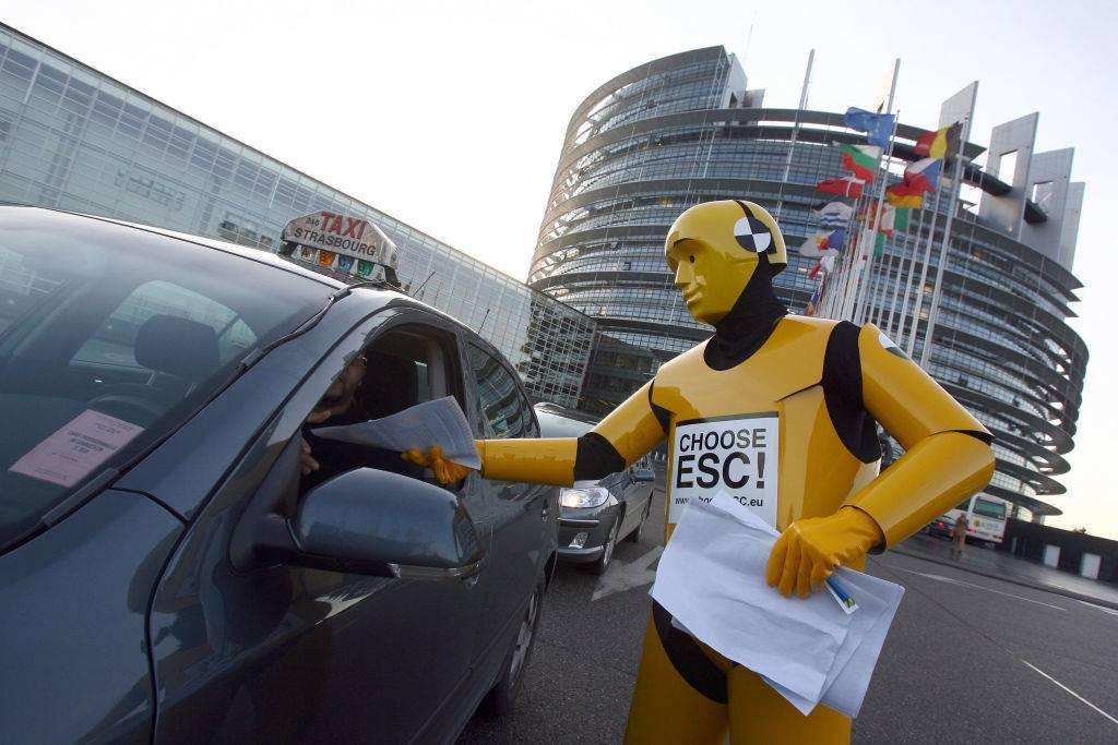 a man dressed as a crash test dummy