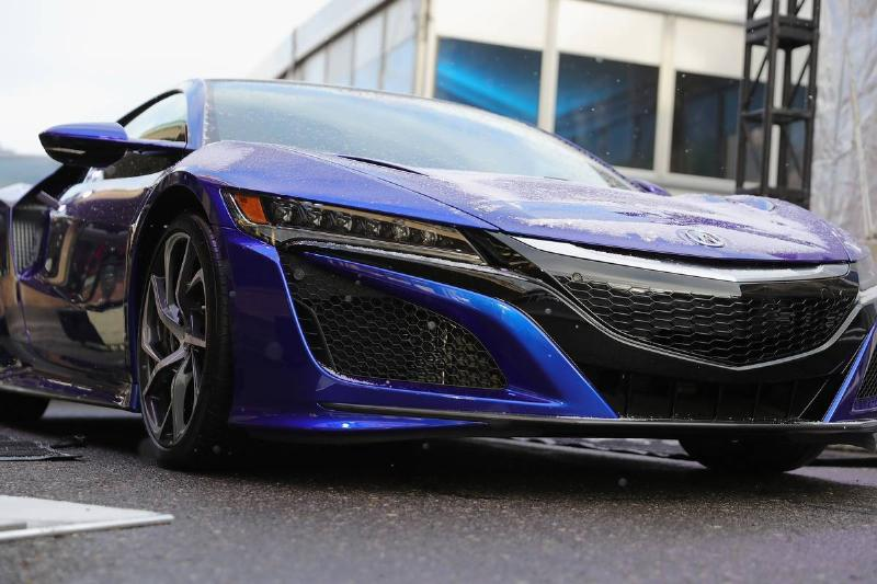 The 2017 Acura NSX is photographed close up.