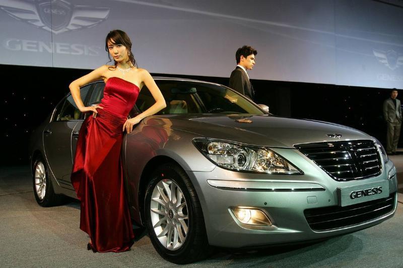 The Hyundai Genesis Sedan is shown off in South Korea.