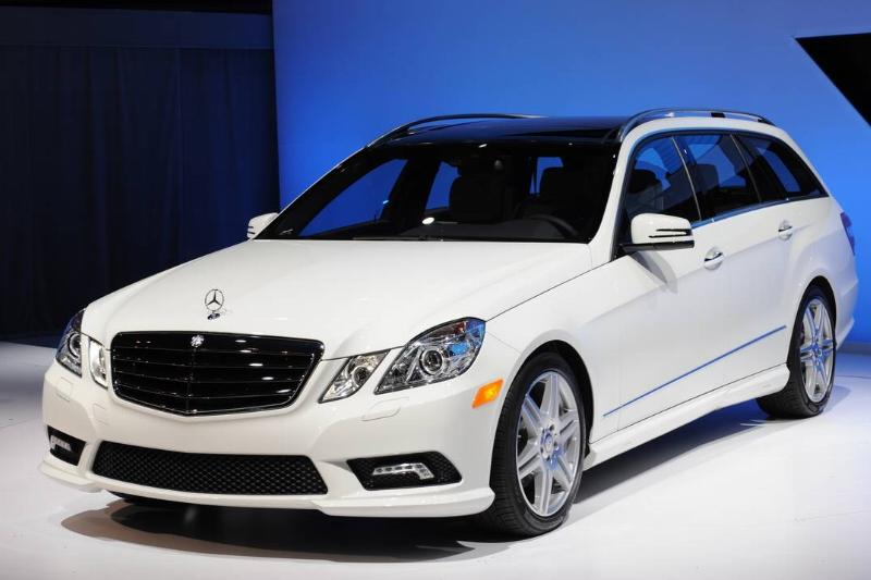 The Mercedes Benz E 350 wagon is on display in New York.