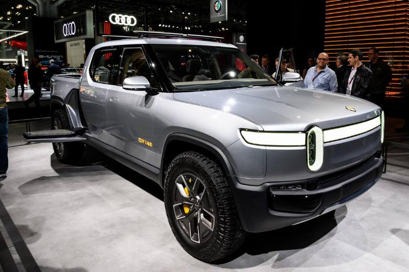 Rivian R1T seen at the New York International Auto Show at...