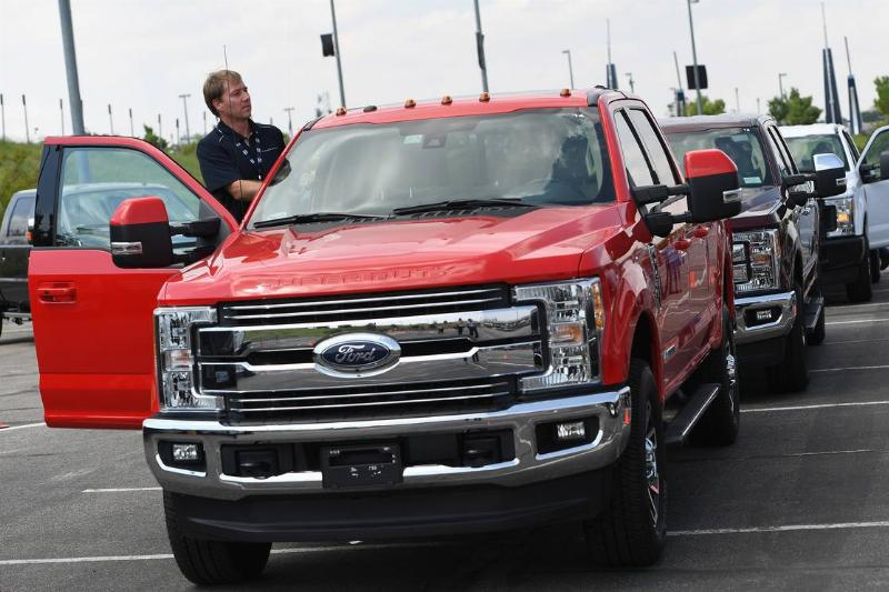 Ford truck presents it's newest Ford F-Series Super Duty trucks in the parking lot of Sports Authority Field at Migh High in Denver, Colorado