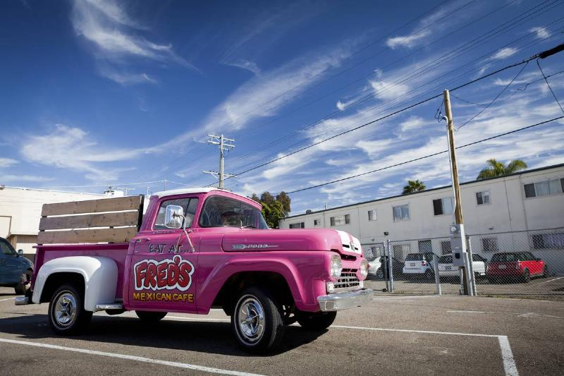 Pink Ford Pickup Truck F100