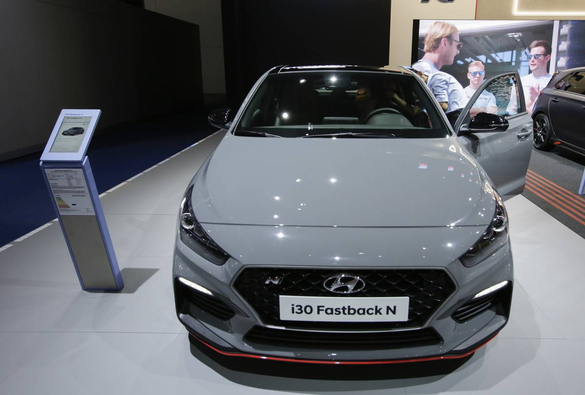 The South-Korean car manufacturer Hyundai displays the...