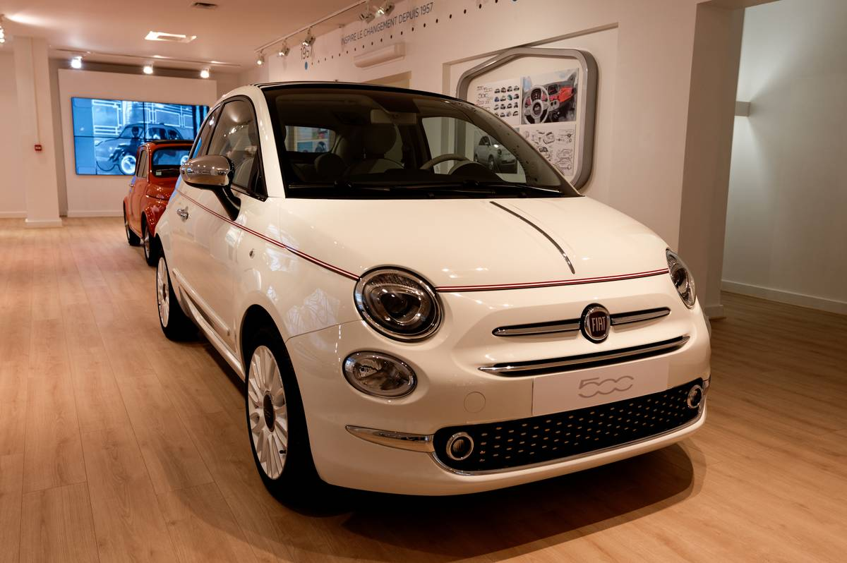 Presentation Of The New Ecologic Cars FIAT 500 Electric And FIAT 500 Hybrid In Paris