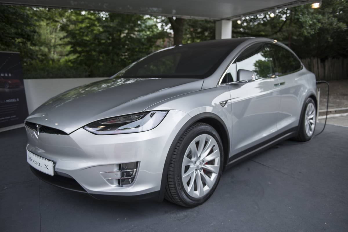 Exhibition of Tesla Model X during the Turin Motor Show 2018...