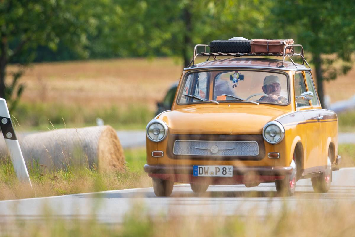 On the road in a Trabant