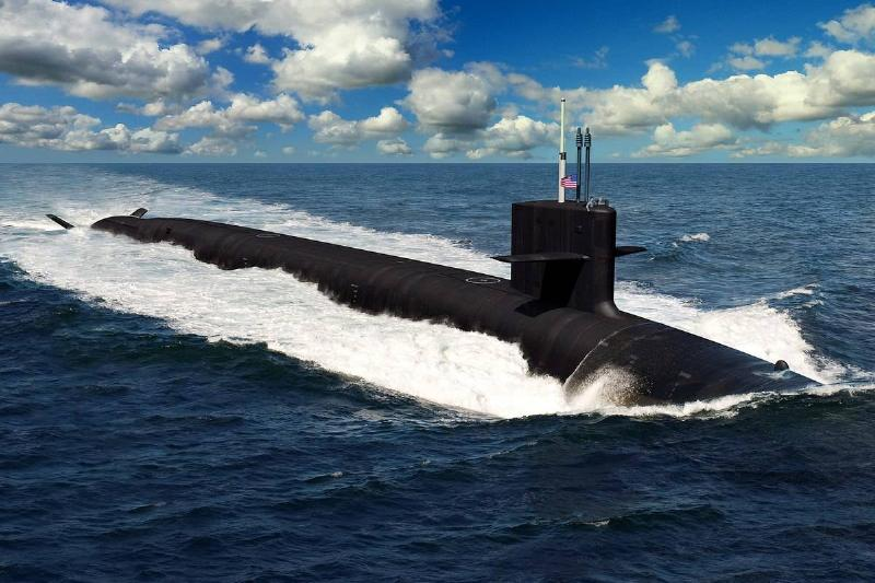 An artist depicts what the Columbia-class submarine might look like.