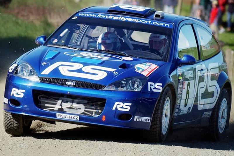 Markko Martin slides his Ford Focus RS WRC car int