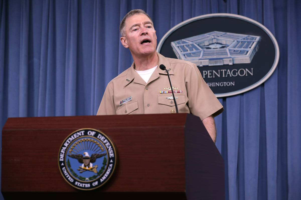 Navy Vice Admiral Fritz Roegge speaks at the Pentagon.