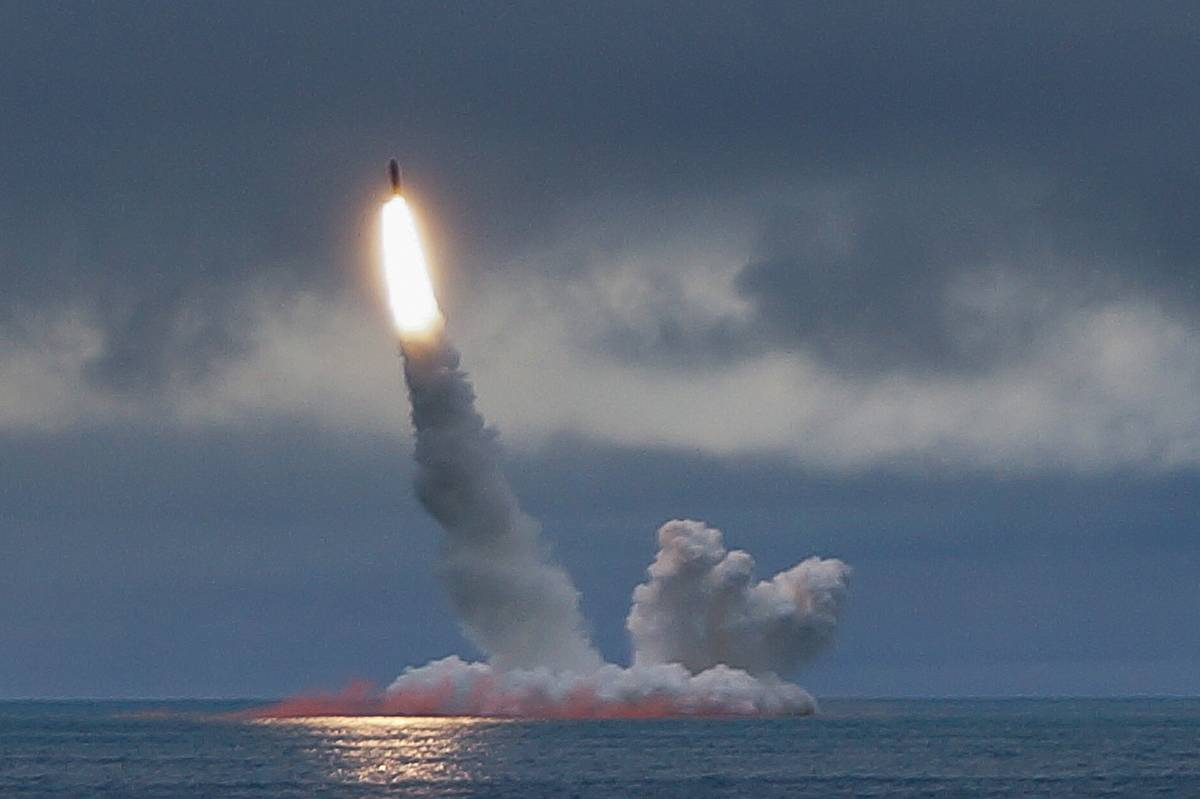 A missile launches from Russia's nuclear-powered submarine.