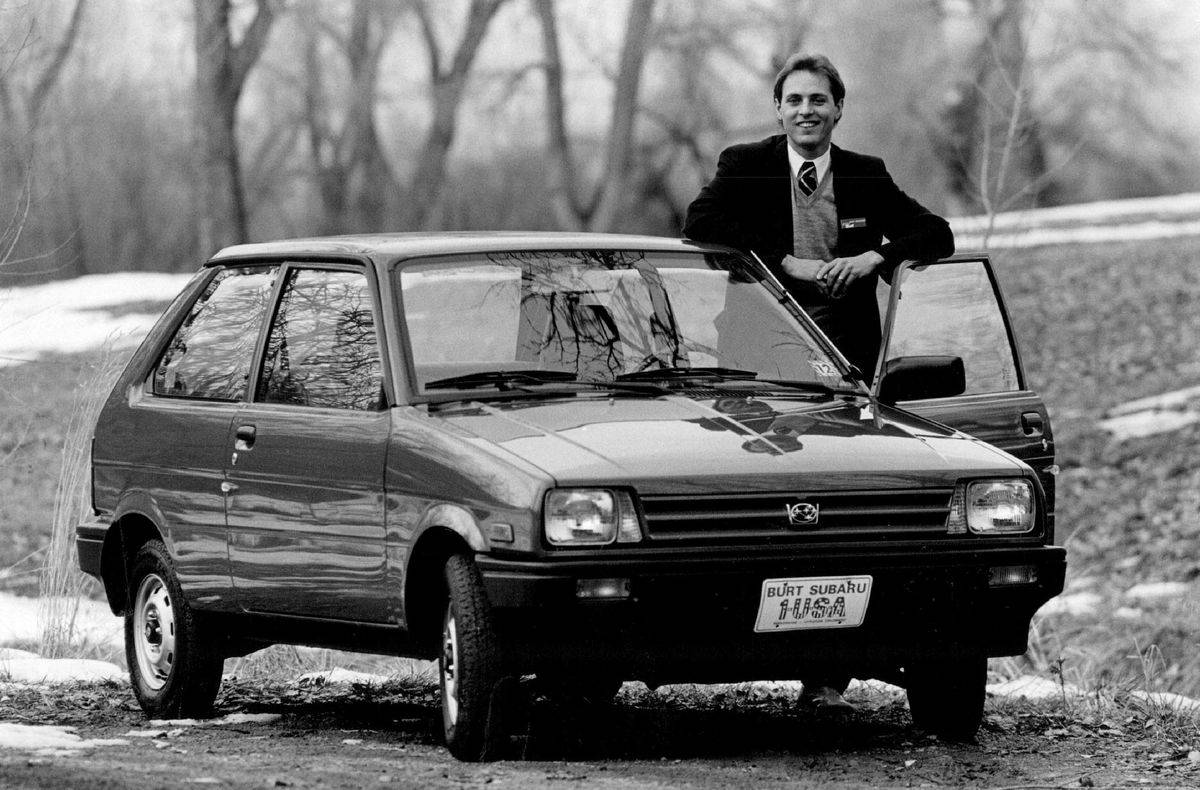 JAN 3 1987; Burt Subaru General Manager Mark Neracher displays the one and only Justy.;